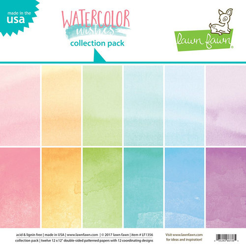 Lawn Fawn - Watercolor Wishes Collection - 12 x 12 Collection Pack