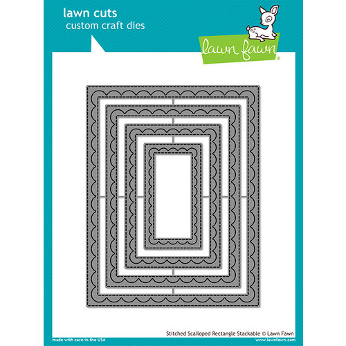 Lawn Fawn - Lawn Cuts - Dies - Outside In Stitched Scalloped Rectangle Stackables