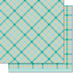 Lawn Fawn - Perfectly Plaid Collection - Chill - 12 x 12 Double Sided Paper - Peace Out