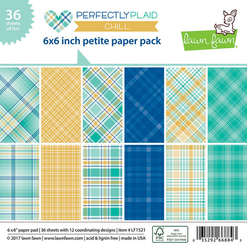 Lawn Fawn - Perfectly Plaid Collection - Chill - 6 x 6 Petite Paper Pack