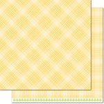 Lawn Fawn - Perfectly Plaid Collection - Spring - 12 x 12 Double Sided Paper - Daffodil