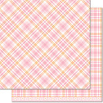 Lawn Fawn - Perfectly Plaid Collection - Spring - 12 x 12 Double Sided Paper - Dahlia