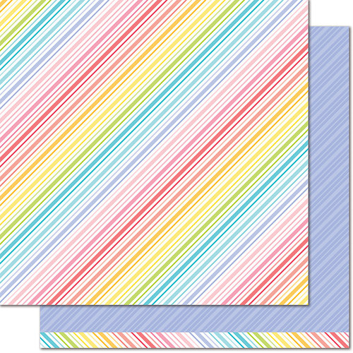 Lawn Fawn - Really Rainbow Collection - 12 x 12 Double Sided Paper - Purple Posies