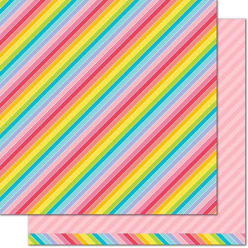 Lawn Fawn - Really Rainbow Collection - 12 x 12 Double Sided Paper - Pink Tutu