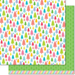 Lawn Fawn - Really Rainbow Collection - Christmas - 12 x 12 Double Sided Paper - Pine Tree Green