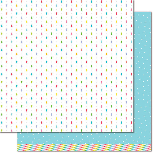 Lawn Fawn - Really Rainbow Collection - Christmas - 12 x 12 Double Sided Paper - Blue Snowfall