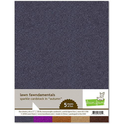 Lawn Fawn - 8.5 x 11 Cardstock - Sparkle - Autumn - 5 Pack