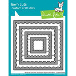 Lawn Fawn - Lawn Cuts - Dies - Reverse Stitched - Scalloped Square Windows