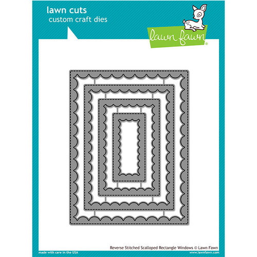 Lawn Fawn - Lawn Cuts - Dies - Reverse Stitched - Scalloped Rectangle Windows