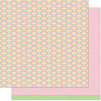 Lawn Fawn - Really Rainbow Scallops Collection - 12 x 12 Double Sided Paper - Unicorn Mane