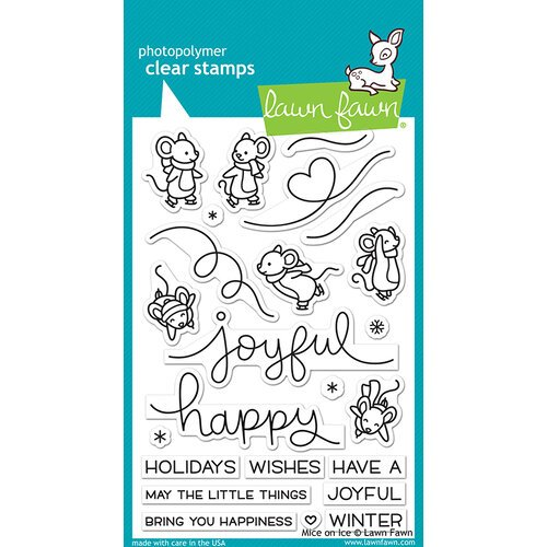 Lawn Fawn - Christmas - Clear Photopolymer Stamps - Mice on Ice