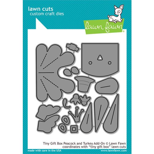 Lawn Fawn - Lawn Cuts - Dies - Tiny Gift Box Peacock and Turkey Add-On