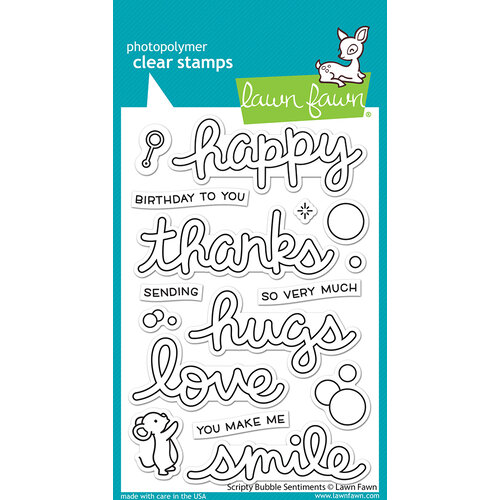 Lawn Fawn - Clear Photopolymer Stamps - Scripty Bubble Sentiments