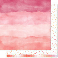 Lawn Fawn - Watercolor Wishes Rainbow Collection - 12 x 12 Double Sided Paper - Rose Quartz