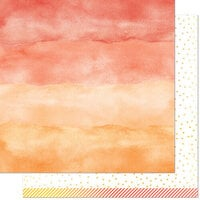 Lawn Fawn - Watercolor Wishes Rainbow Collection - 12 x 12 Double Sided Paper - Carnelian
