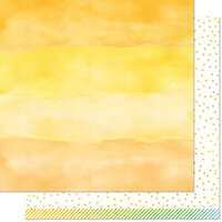Lawn Fawn - Watercolor Wishes Rainbow Collection - 12 x 12 Double Sided Paper - Citrine