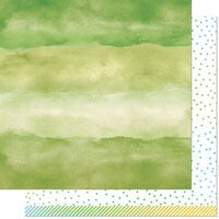 Lawn Fawn - Watercolor Wishes Rainbow Collection - 12 x 12 Double Sided Paper - Emerald