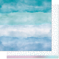 Lawn Fawn - Watercolor Wishes Rainbow Collection - 12 x 12 Double Sided Paper - Larimar