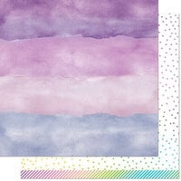 Lawn Fawn - Watercolor Wishes Rainbow Collection - 12 x 12 Double Sided Paper - Amethyst
