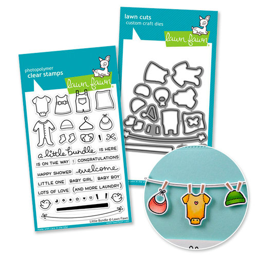Lawn Fawn - Die and Acrylic Stamp Set - Baby - Little Bundle