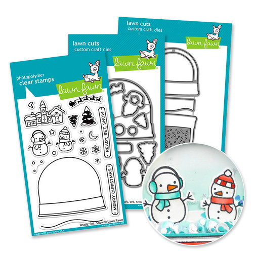Lawn Fawn - Die and Acrylic Stamp Set with Interactive Shaker - Ready, Set, Snow Bundle