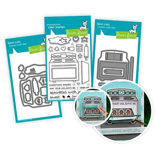 Lawn Fawn - Die and Acrylic Stamp Set - Sprinkled with Joy - Interactive Oven - Bundle