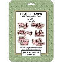 Lisa Horton Crafts - Die and Clear Photopolymer Stamp Set - Double Layered Sentiments