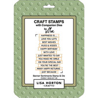 Lisa Horton Crafts - Die and Clear Photopolymer Stamp Set - Banner Sentiments