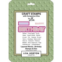 Lisa Horton Crafts - Die and Clear Photopolymer Stamp Set - Layered Words - Birthday