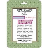 Lisa Horton Crafts - Die and Clear Photopolymer Stamp Set - Layered Words - Happy
