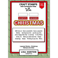 Lisa Horton Crafts - Die and Clear Photopolymer Stamp Set - Layered Words - Christmas