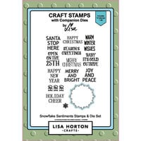Lisa Horton Crafts - Christmas - Die and Clear Photopolymer Stamp Set - Snowflake Sentiments