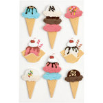 Little B - 3 Dimensional Stickers - Ice Cream Cones - Medium
