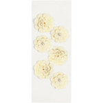 Little B - 3 Dimensional Stickers - Crepe Paper Flowers - White - Mini