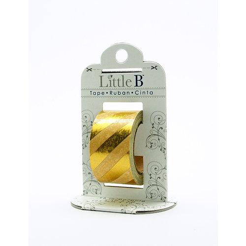 Little B - Decorative Paper Tape - Gold Foil Diagonal Stripes - 25mm