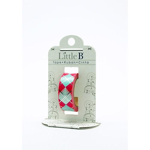 Little B - Decorative Paper Tape - Silver Foil Pink Harlequin - 15mm