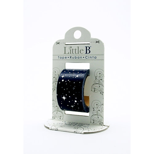 Little B - Decorative Paper Tape - Silver Foil Starry Night - 25mm