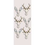 Little B - Christmas Collection - Decorative 3 Dimensional Stickers - White Stags with Glitter - Mini