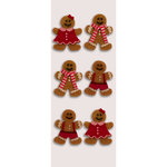 Little B - Christmas Collection - Decorative 3 Dimensional Stickers - Holiday Gingerbread Men - Mini