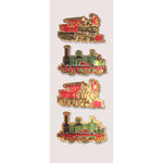 Little B - Christmas Collection - Decorative 3 Dimensional Stickers - Holiday Trains - Mini