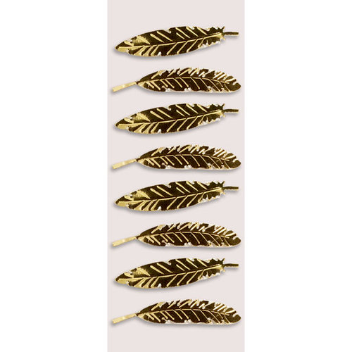 Little B - Halloween Collection - Decorative 3 Dimensional Stickers - Gold Feathers - Mini