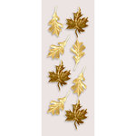 Little B - Halloween Collection - Decorative 3 Dimensional Stickers - Gold Autumn Leaves - Mini