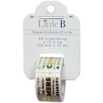 Little B - Christmas Collection - Decorative Paper Tape - Merry Christmas Word Play Gold Foil - 25mm