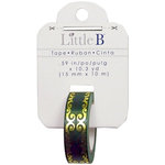 Little B - Christmas Collection - Decorative Paper Tape - Green Gold Flourish Foil - 15mm