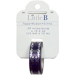 Little B - Christmas Collection - Decorative Paper Tape - Blue Silver Flourish Foil - 15mm