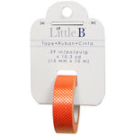 Little B - Halloween Collection - Decorative Paper Tape - Orange with Gold Foil Polka Dots - 15mm