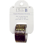 Little B - Halloween Collection - Decorative Paper Tape - Spider Web with Gold Foil - 25mm