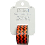 Little B - Halloween Collection - Decorative Paper Tape - Orange Black Chevron Gold Foil - 25mm