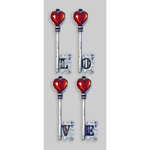 Little B - Decorative 3 Dimensional Stickers - Love Keys - Mini
