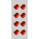 Little B - Decorative 3 Dimensional Stickers - Rhinestone Hearts - Mini